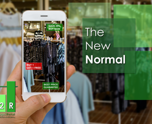 The New Normal: Consumer using a smartphone in a Retail Store with an Augmented Reality Overlay on their Device
