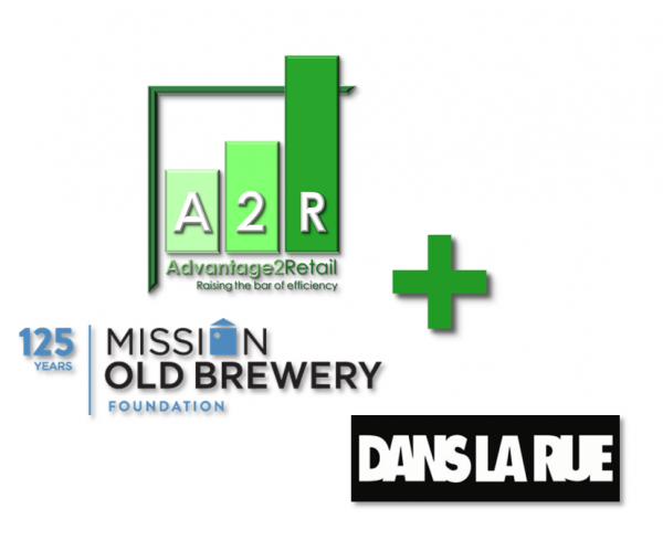 Old Brewery Mission, Dans La Rue and Advantage2Retail Logos