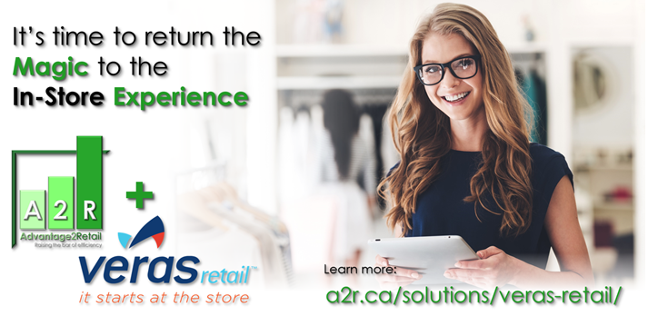 Young female retail store associate using Veras Retail Checkout on an iPad